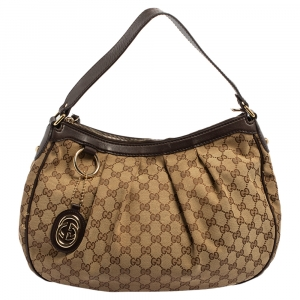 Gucci Beige/Brown GG Canvas and Leather Medium Sukey Hobo