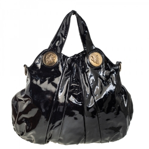 حقيبة هوبو غوتشي هيستيريا كبيرة جلد لامع أسود