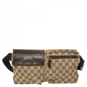 Gucci Beige/Brown GG Canvas and Leather Waist Belt Bag