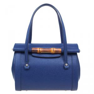 Gucci Blue Leather Small Bamboo Top Handle Bag