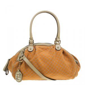 Gucci Orange Diamante Canvas Medium Sukey Boston Bag