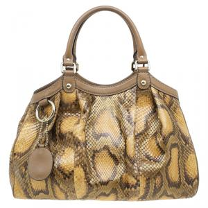 Gucci Brown Python Medium Sukey Tote