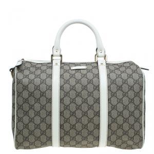 Gucci Beige/White GG Coated Canvas Medium Joy Boston Bag