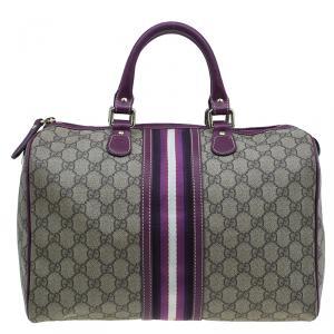 Gucci Beige/Purple GG Coated Canvas Medium Limited Edition Joy Web Boston Bag