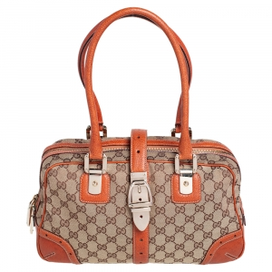 Gucci Brown/Beige GG Canvas and Leather Buckle Flap Glam Boston Bag
