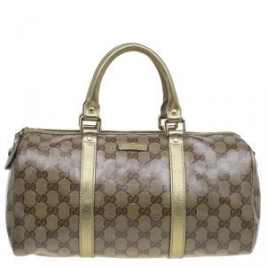 Gucci Gold GG Crystal Coated Canvas Medium Joy Boston Bag