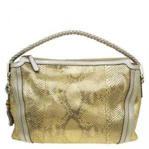 Gucci Gold Python Medium Bella Hobo