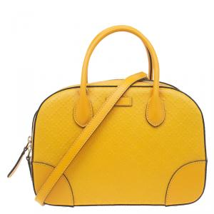 Gucci Yellow Bright Diamante Leather Small Top Handle Bag