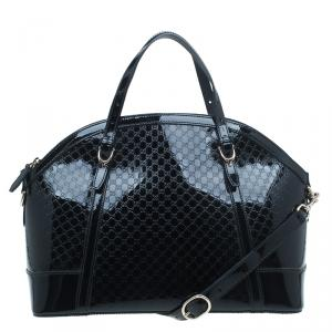 Gucci Black Microguccissima Patent Leather Medium Nice Top Handle Bag