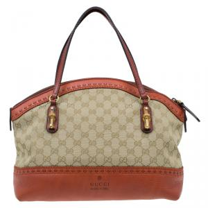 Gucci Beige/Orange GG Canvas and Leather Laidback Crafty Top Handle Bag