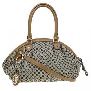 Gucci Beige/Ebony Diamante Canvas Medium Sukey Boston Bag
