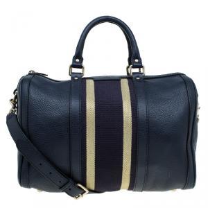 Gucci Black Leather Medium Web Boston Bag