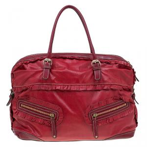 Gucci Red Leather Large Sabrina Boston