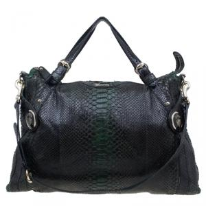 Gucci Dark Green Python Shopping Tote