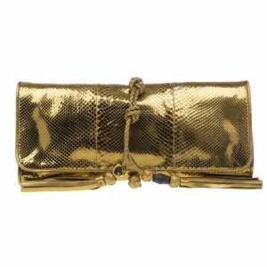 Gucci Metallic Gold Python Malika Clutch