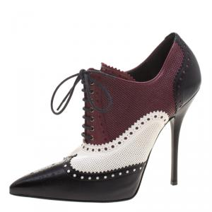 Gucci Tri Color Brogue And Perforated Leather Gia Lace Up Ankle Boots Size 40