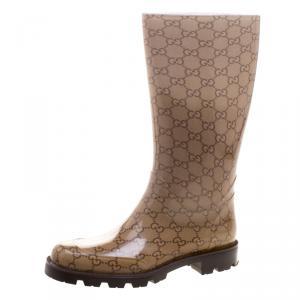 Gucci Biege GG Rubber Edimburg Rain Boots Size 38