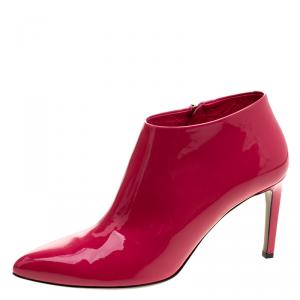 Gucci Pink Patent Leather Noah Ankle Booties Size 40