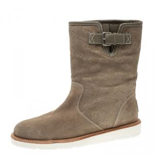 Gucci Beige Guccissima Suede Quercy Flat Boots Size 39