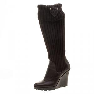 Gucci Brown Leather and Fabric Sock Wedge Boots Size 37