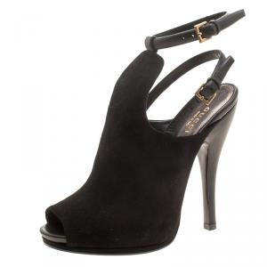 Gucci Black Suede Jane Peep Toe Ankle Strap Booties Size 36