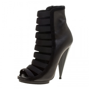 Gucci Black Leather Olimpia Elastic Cage Ankle Boots Size 35