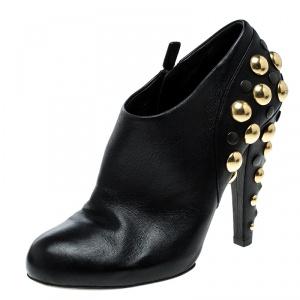 Gucci Black Leather Babouska Stud Embellished Ankle Booties Size 38.5
