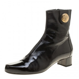Gucci Black Patent Leather Hysteria Ankle Boots Size 38
