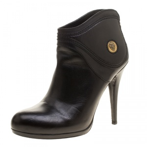 Gucci Black Leather Diana Ankle Boots Size 39