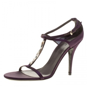 Gucci Purple Satin T-strap Sandals Size 40.5 - used