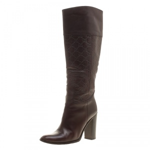 Gucci Brown Guccissima Leather 85th Anniversary Knee High Leather Boots Size 38