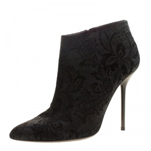 Gucci Black Brocade Leather Ankle Boots Size 38