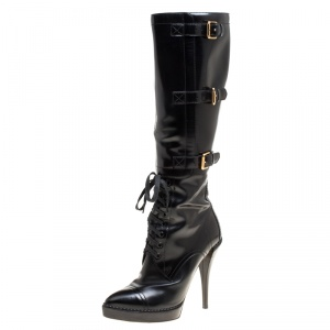 Gucci Black Leather Riddle Lace-Up Platform Knee Boots Size 39