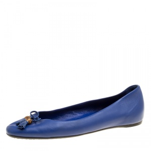 Gucci Blue Leather Bamboo Bow Ballet Flats Size 38.5 - used