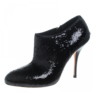 Gucci Black Sequins Ankle Booties Size 37.5