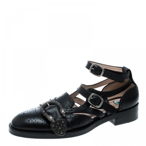 Gucci Black Perforated Leather Queercore Brogues Size 39.5