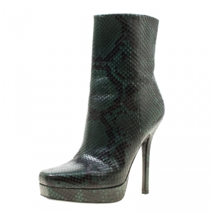 Gucci Two Tone Python Leather Platform Ankle Boots Size 38.5