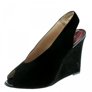 Céline Black Suede Leather Slingback Wedge Sandals Size 37 - used