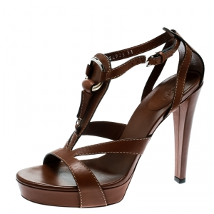 Gucci Brown Leather Icon Bit Ankle Strap Platform Sandals Size 37 - used