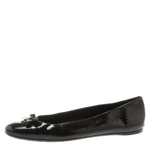 Gucci Black Patent Leather Buckle Bow Detail Ballerina Flat Size 39.5 - used