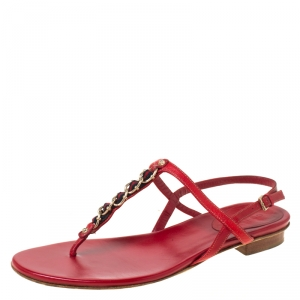 Gucci Red Leather Chain Strap Thong Sandals Size 36 - used