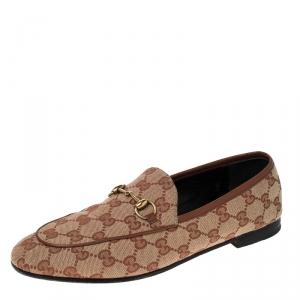 Gucci Beige GG Canvas Jordaan Horsebit Loafers Size 39.5
