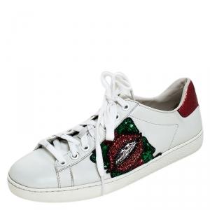 حذاء رياضي غوتشي منخفض من أعلى  Lips Ace ترتر جلد أبيض مقاس 35