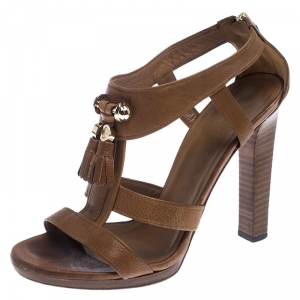 Gucci Brown Leather Marrakech Open-Toe Sandals Size 38 - used