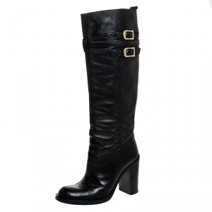 Gucci Black Leather Buckle Riding Knee Length Boots Size 38 - used