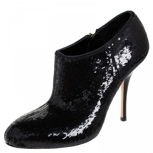 Gucci Black Sequins Zip Ankle Booties Size 36 - used