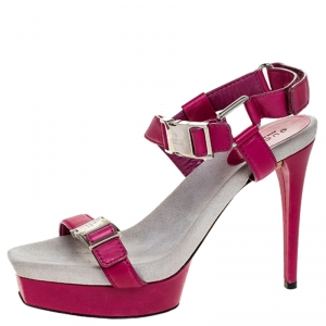 Gucci Pink Leather Side Release Buckle Detail Open Toe Platform Ankle Strap Sandals Size 39.5 - used