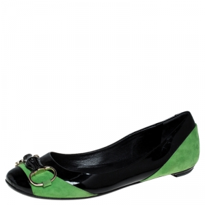 Gucci Black/Green Patent Leather And Suede Bamboo Horsebit Ballet Flats Size 36 - used