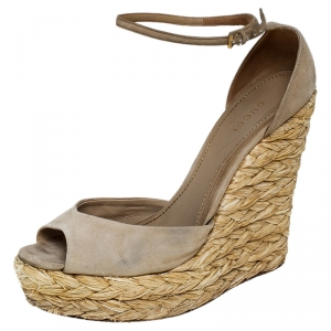 Gucci Beige Suede Raffia Wedge Peep Toe Ankle Strap Sandals Size 39 - used