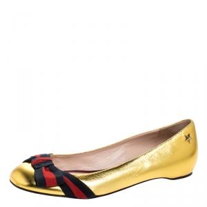 حذاء فلات باليه غوتشي تفاصيل فيونكة ويب Aline  جلد ذهبية ميتالك مقاس 39.5